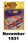 Model Airplane news cover for November of 1931