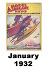 Model Airplane news cover for January of 1932