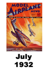 Model Airplane news cover for July of 1932
