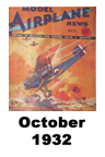 Model Airplane news cover for Oct of 1932
