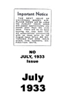 Model Airplane news cover for July of 1933 There is no July 1933 issue