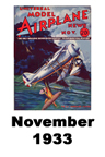Model Airplane news cover for November of 1933
