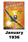Model Airplane news cover for January of 1936