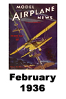 Model Airplane news cover for February of 1936