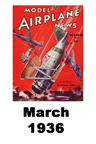 Model Airplane news cover for March of 1936