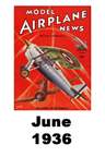 Model Airplane news cover for June of 1936