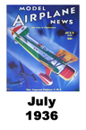 Model Airplane news cover for July of 1936