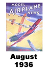 Model Airplane news cover for August of 1936
