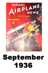 Model Airplane news cover for September of 1936