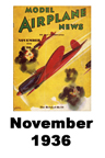 Model Airplane news cover for November of 1936