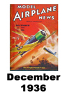 Model Airplane news cover for December of 1936