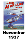Model Airplane news cover for November of 1937