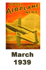 Model Airplane news cover for March of 1939
