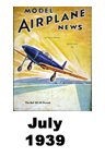 Model Airplane news cover for July of 1939