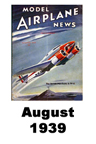 Model Airplane news cover for August of 1939
