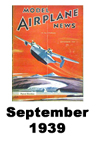 Model Airplane news cover for September of 1939