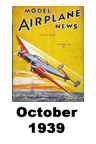 Model Airplane news cover for October of 1939