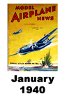 Model Airplane news cover for January of 1940
