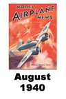 Model Airplane news cover for August of 1940