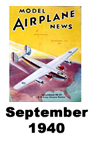 Model Airplane news cover for September of 1940