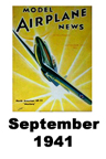 Model Airplane news cover for September of 1941