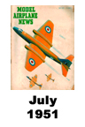Model Airplane news cover for July of 1951