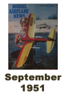 Model Airplane news cover for September of 1951