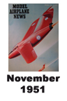 Model Airplane news cover for November of 1951