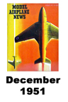 Model Airplane news cover for December of 1951