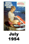 Model Airplane news cover for July of 1954