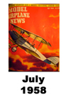 Model Airplane news cover for July of 1958