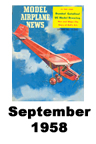 Model Airplane news cover for September of 1958