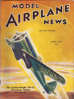 Model Airplane News Cover for April, 1939 by Jo Kotula Curtiss-Wright CW-21 Demon