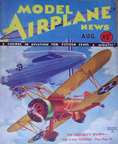 Model Airplane News Cover for August, 1932 Curtiss Sparrowhawk (and the Dirigible USS Akron)