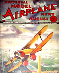 Model Airplane News Cover for August, 1934 by Jo Kotula Beechcraft Model 17 Staggerwing