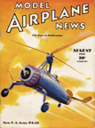Model Airplane News Cover for August, 1935 by Jo Kotula US Army Pitcairn PA-33 Autogiro