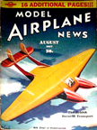 Model Airplane News Cover for August, 1937 by Jo Kotula Burnelli UB-14 and CBY-3