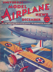 Model Airplane News Cover for December, 1933 by Jo Kotula Curtiss Sparrowhawk (and the Dirigible USS Macon)