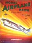 Model Airplane News Cover for December, 1937 by Jo Kotula Folkerts SK-3 Jupiter