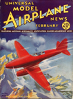 Model Airplane News Cover for February, 1935 by Jo Kotula Dehaviland DH. 88 Comet