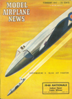 Model Airplane News Cover for February, 1947 by Jo Kotula Supermarine E 10/44 Jet Fighter (Attacker)