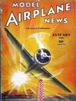 Model Airplane News Cover for January, 1936 by Jo Kotula Hughes H-1  Racer