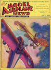 Model Airplane News Cover for July, 1931 by Jo Kotula Morane-Saulnier Type G and Etrich Taube
