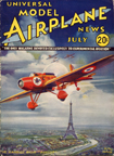 Model Airplane News Cover for July, 1934 by Jo Kotula Hanriot-Biche H.110