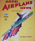 Model Airplane News Cover for June, 1937 by Jo Kotula Hanriot H.220