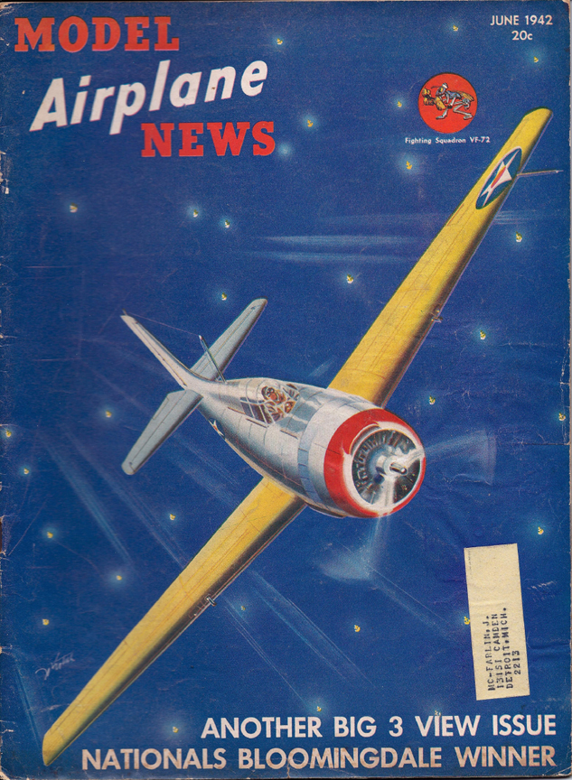 Model airplane news cover for june 1942 by jo kotula grumman f4f