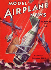 Model Airplane News Cover for March, 1936 by Jo Kotula Grumman F2f-1