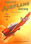 Model Airplane News Cover for March, 1937 by Jo Kotula Seversky 2PA Export Fighter