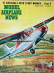 Model Airplane News Cover for March, 1948 by Jo Kotula Luscombe Model 11 Silvaire Sedan