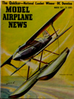 Model Airplane News Cover for March, 1957 by Jo Kotula Curtiss RC3 Land-Sea Racer